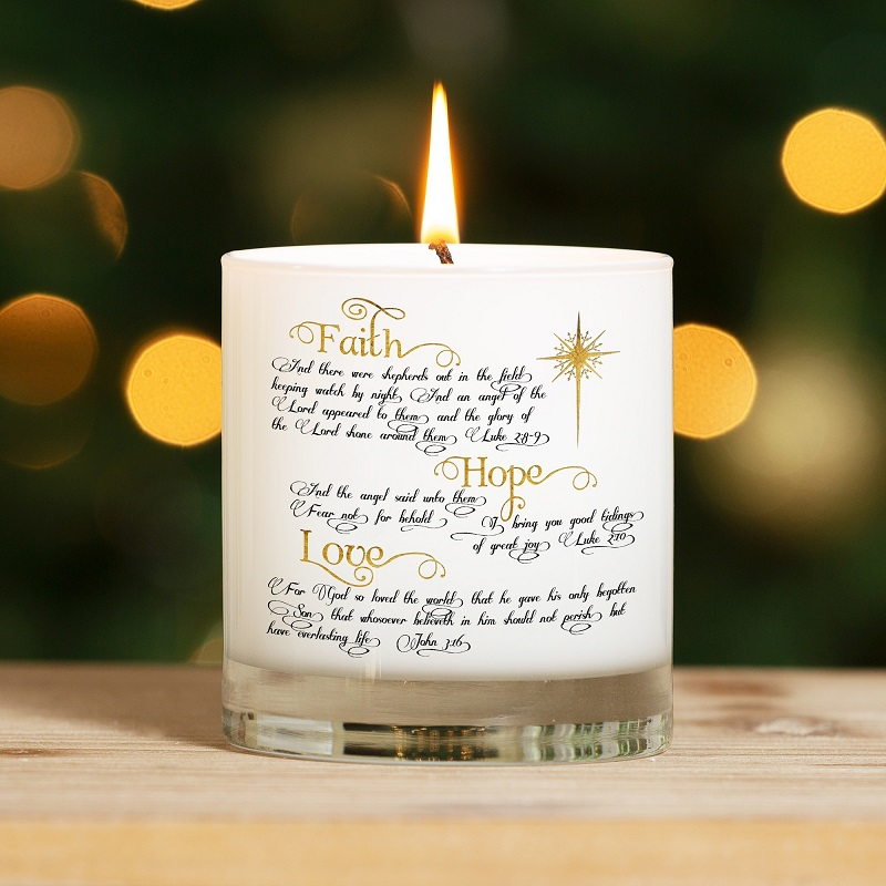 Faith Hope & Love Christmas Candle