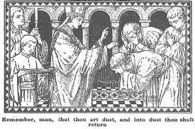 Drawing of sprinkling ashes, from an old missal