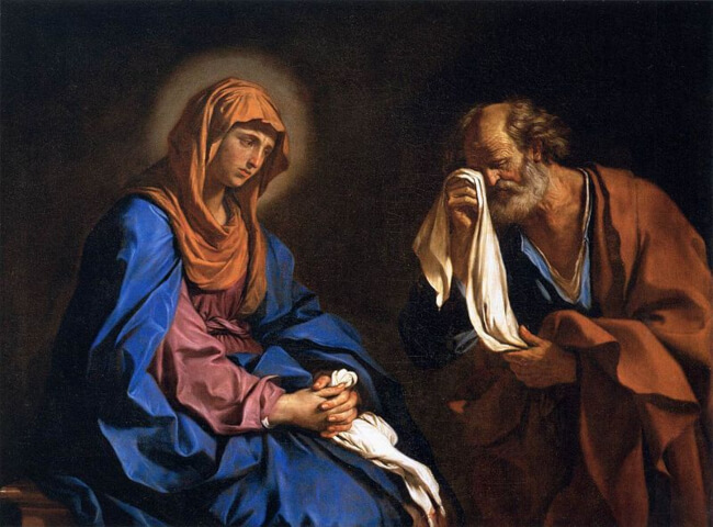 Saint Peter Weeping Before the Virgin by Guercino
