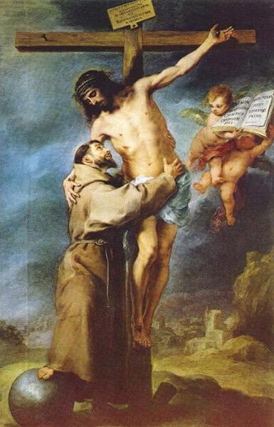 Saint Francis of Assisi embracing the crucified Christ by Bartolome Esteban Murillo