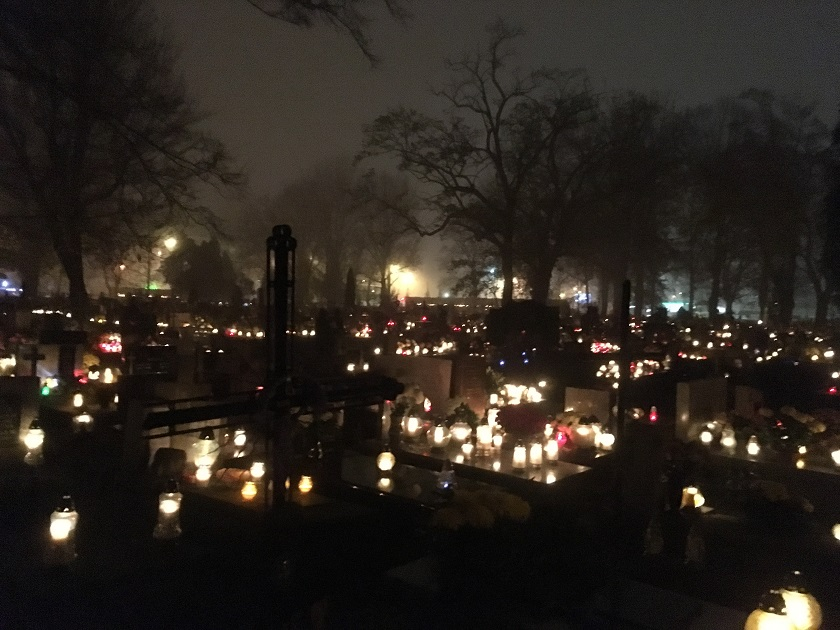 One of our views in the candlelit Krakow cemetery